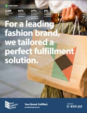 case study cover: 'for a leading fashion brand, we tailored a perfect fulfillment solution'.