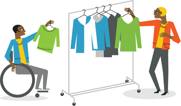 person in a wheelchair holding up a shirt and a woman taking a shirt off of a rack in apparel fulfillment store