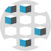 abstract icon of boxes for distribution using different integration software