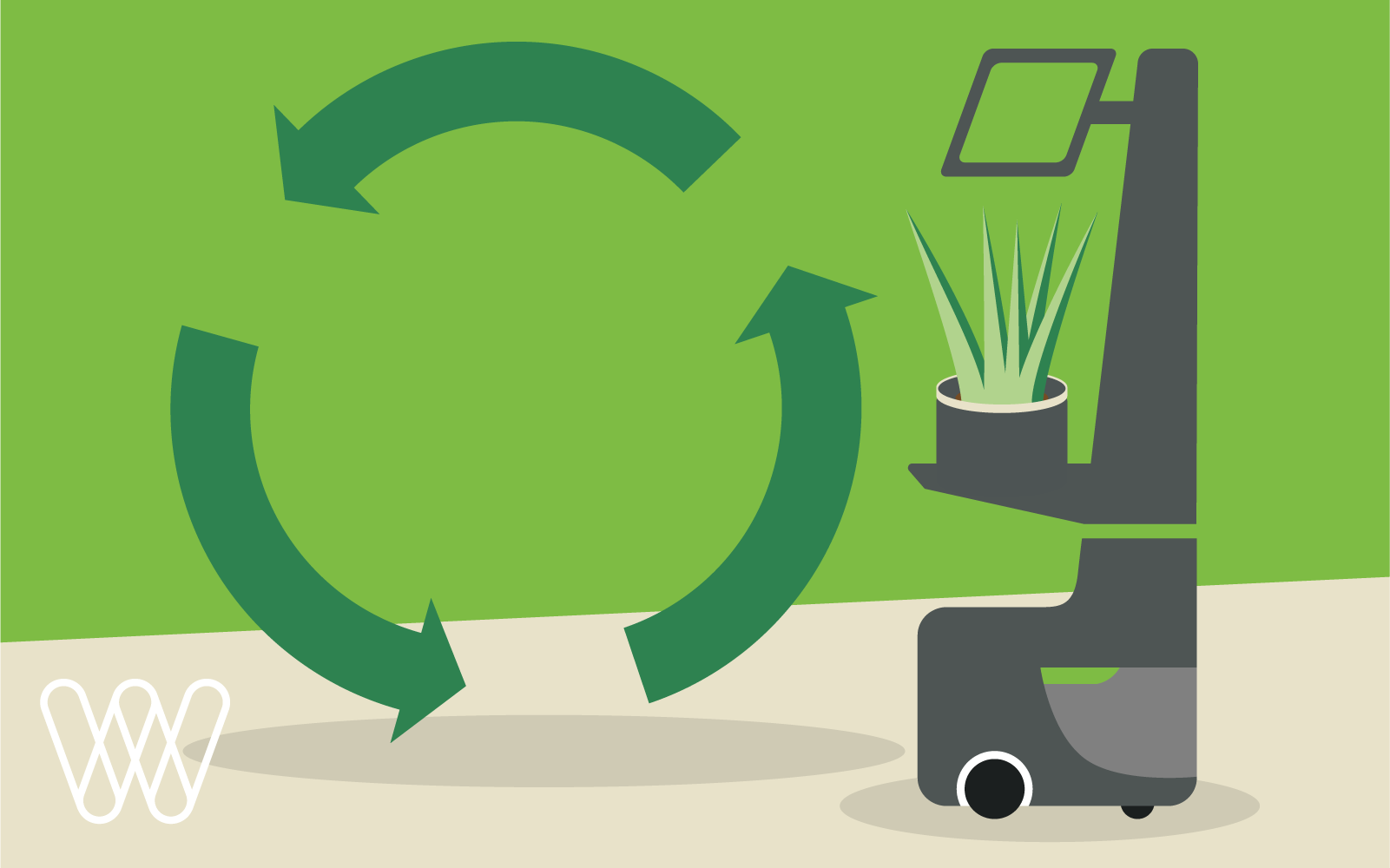 illustration of a locusbot and recycling symbol