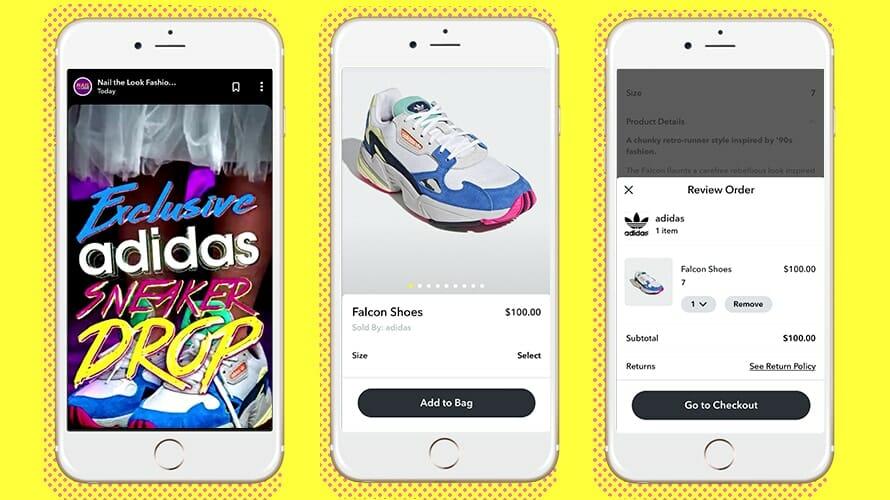 adidas app screens on three smartphones