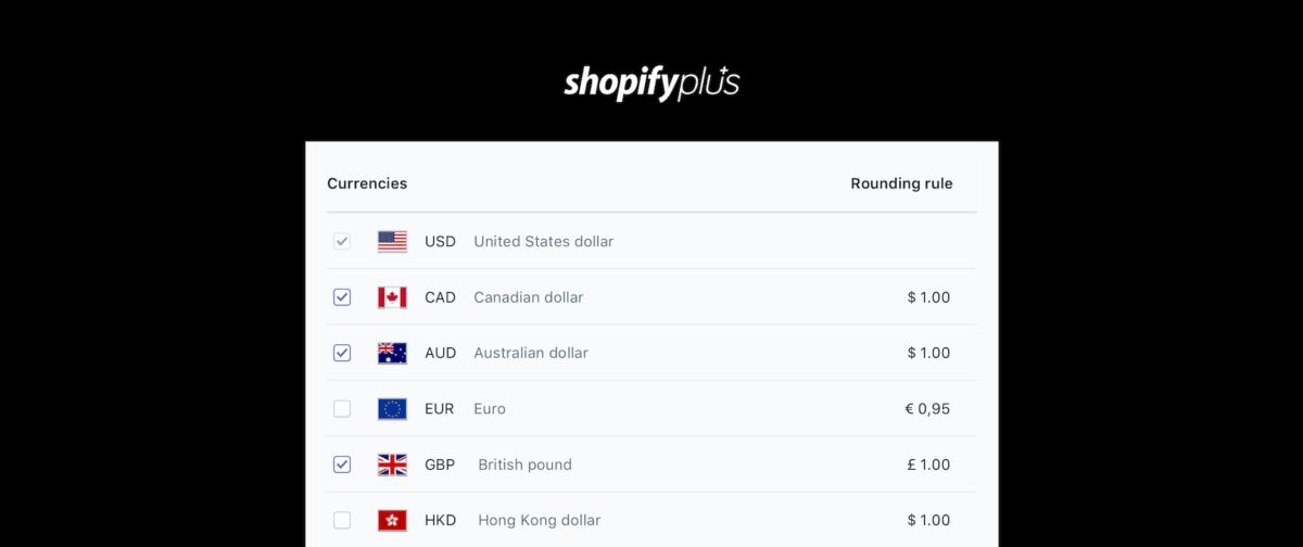 screenshot of shopify plus currencies