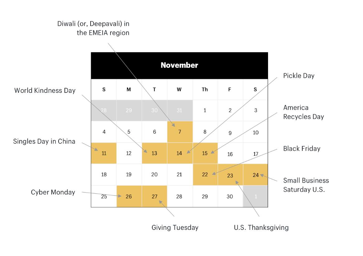 november calendar with world holidays marked
