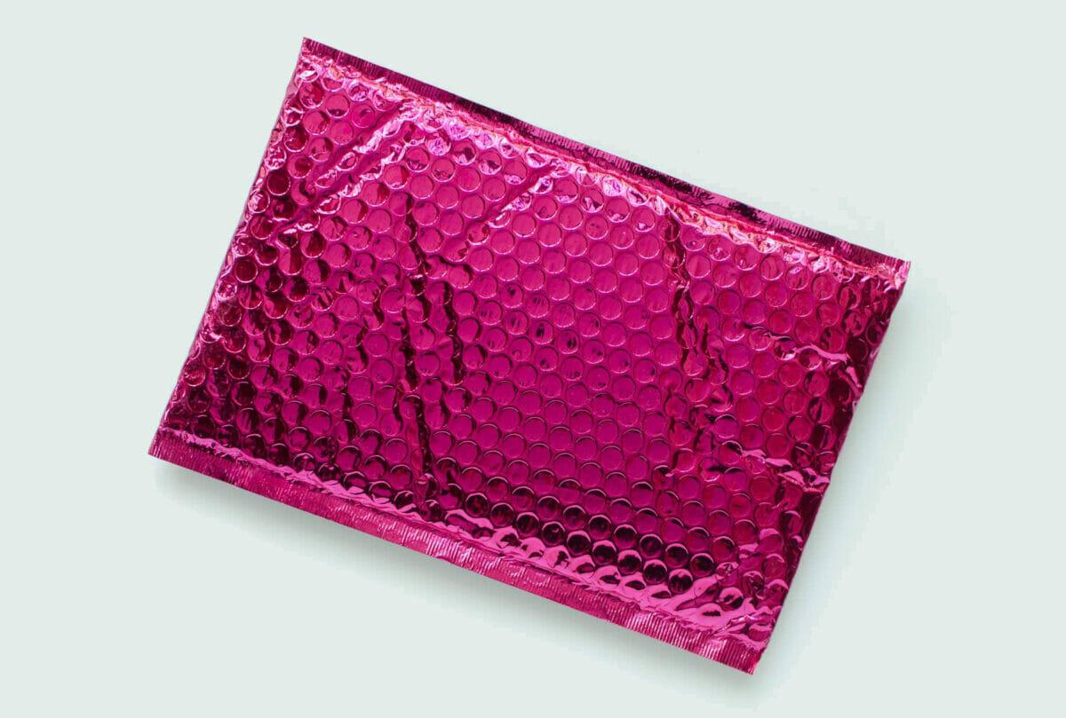 pink metallic padded shipping envelope