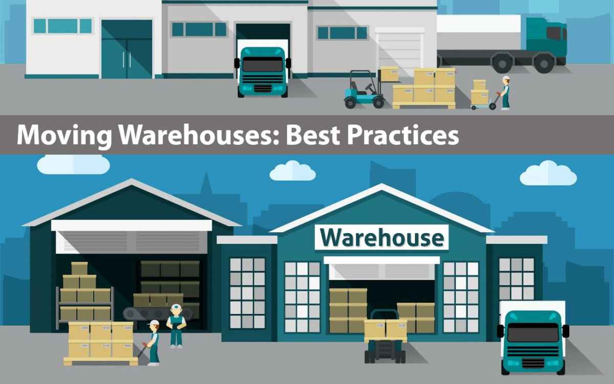 illustration of a warehouse with workers and the text 'moving warehouses: best practices'