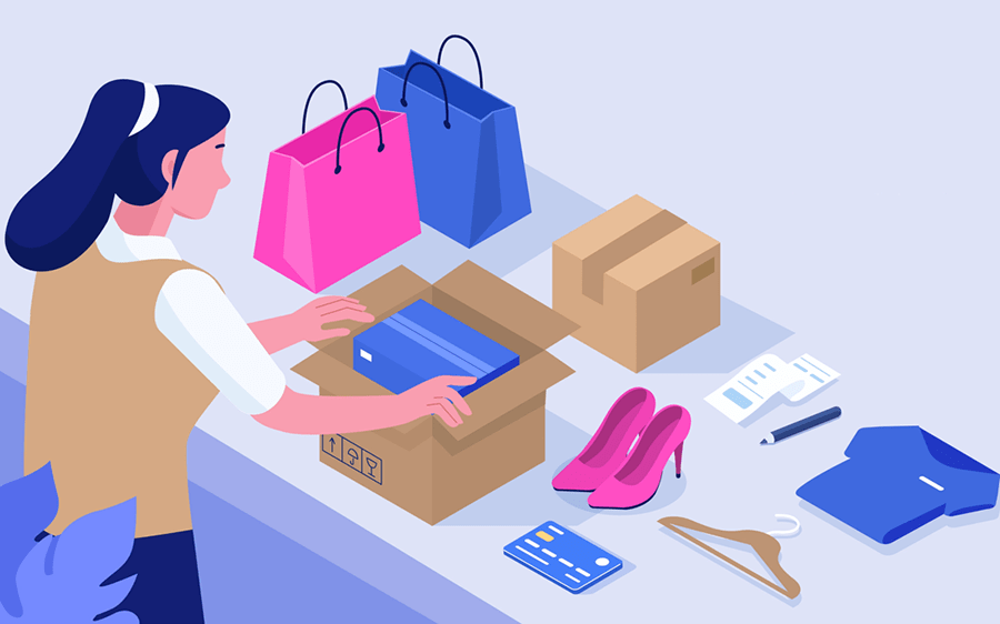 illustration of a woman packing apparel and other products into shipping boxes