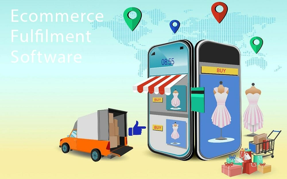 illustration of a truck with boxes in the back pulled up to a store made out of smartphones. on the smartphone screens are pink dresses and buy buttons. next to the store are packages and a shopping cart.