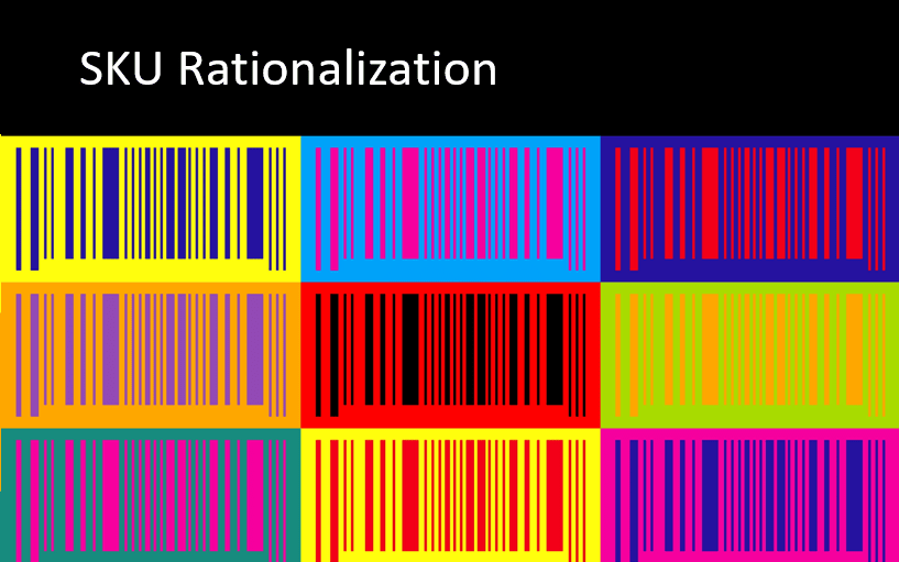a grid of multi-colored barcodes with black and white title 'SKU Rationalization'