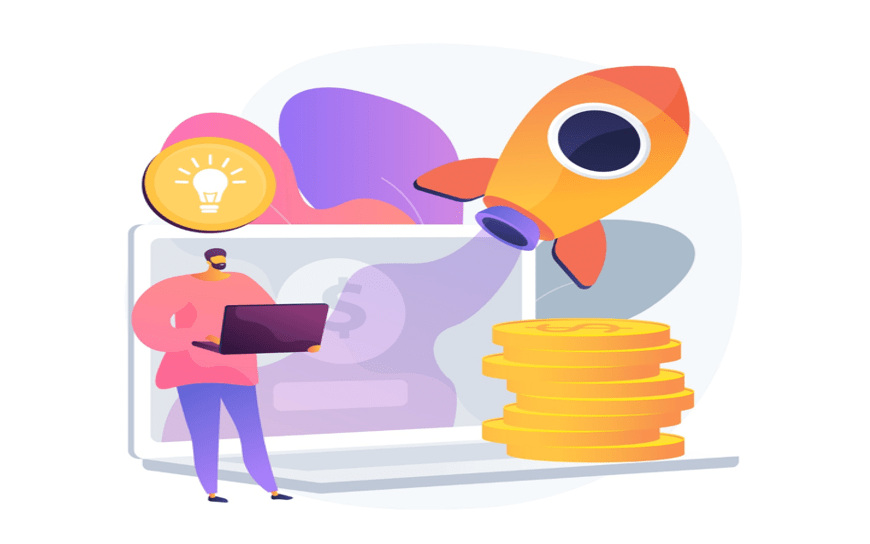 illustration of person with an open laptop in front of an oversized computer. on the computer are large coins, a rocket ship, and an idea light bulb icon.