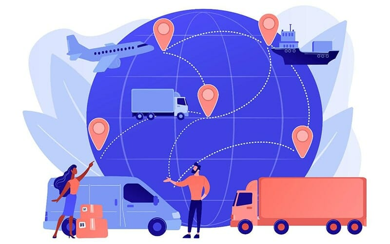 illustration of shipping vans, trucks, ships, and cargo planes around the world with different locations.