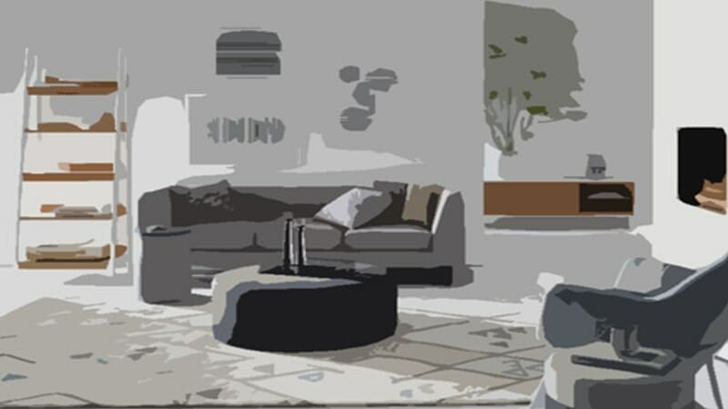 stylized image of a living room with a couch, bookshelf, and chair
