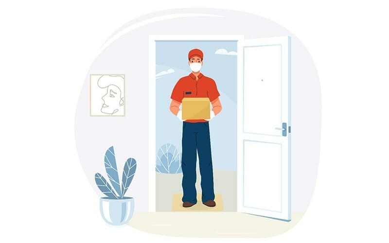 illustration of a masked mail delivery carrier in a doorway