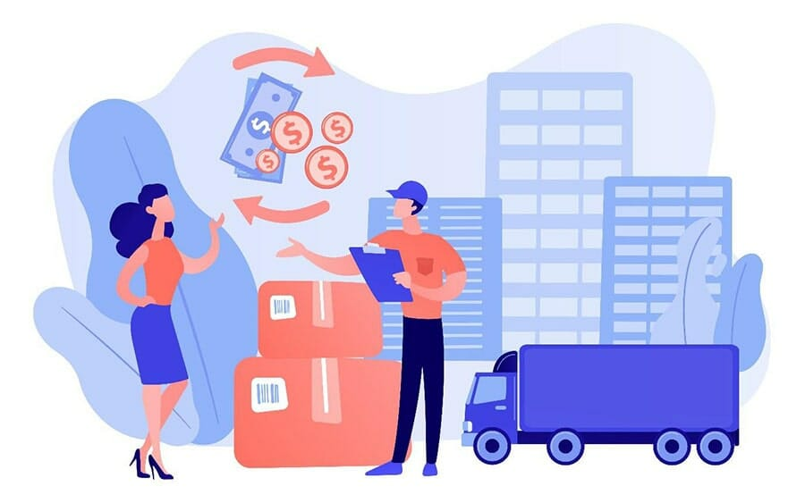 illustration of a woman talking to a delivery person with a truck, shipping boxes, delivery truck, money, and buildings in the background.
