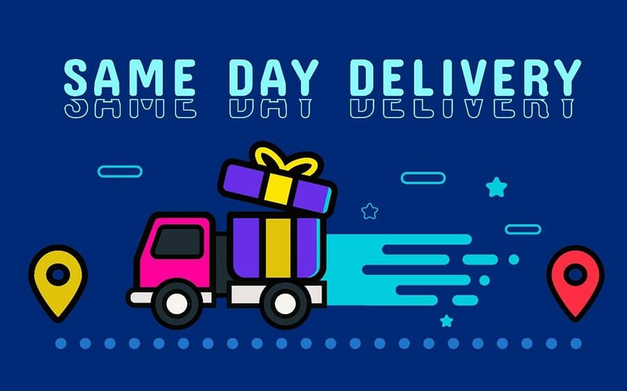 graphic of a delivery truck with a gift box instead of a trailer, driving. above are the words 'same day delivery'.
