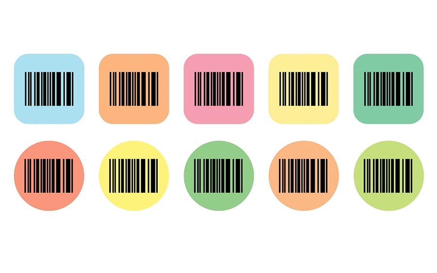 a series of barcodes with different colored and shaped backgrounds
