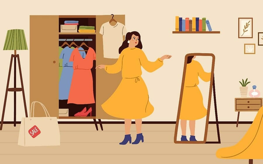 illustration of a woman trying on a yellow dress in front of her mirror, with a shopping bag sitting next to her on the floor.