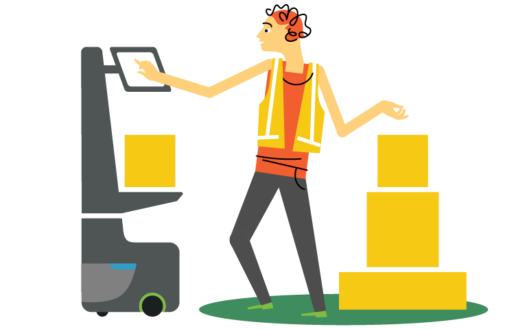 illustration of person fulfilling orders