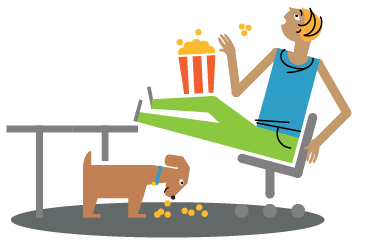 illustration of person eating popcorn and watching videos