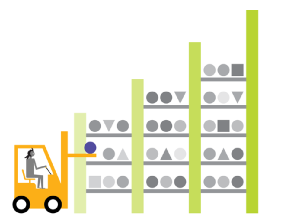 illustration of a forklift retrieving products in a warehouse