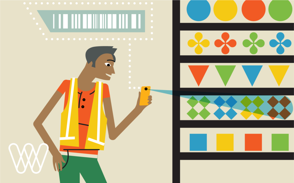illustration of a person scanning items in a warehouse