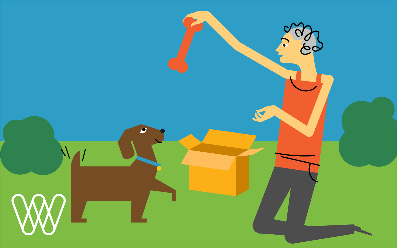 illustration of a person giving their dog a bone taken out of a shipping box