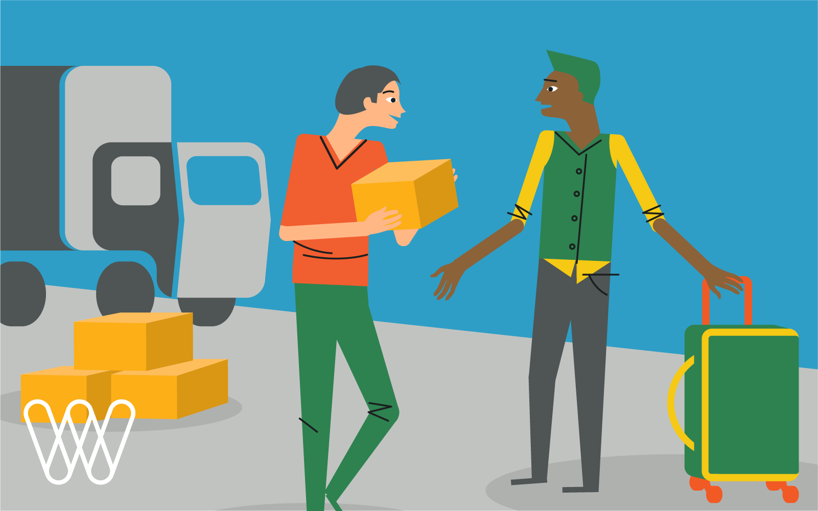 illustration of two people talking with a suitcase and shipping boxes