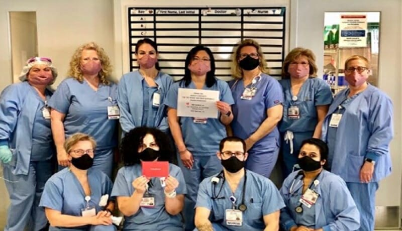Nurses of Hospital of Central Connecticut with their donated Hedley & Bennett masks.