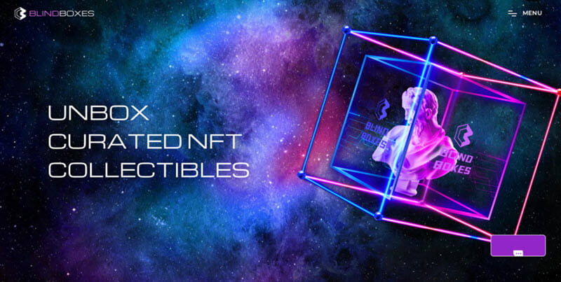 Blind Boxes Image of an NFT that says unbox curated NFT collectibles