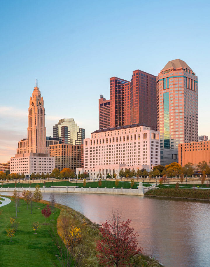 Buildings on the river in Columbus, Ohio