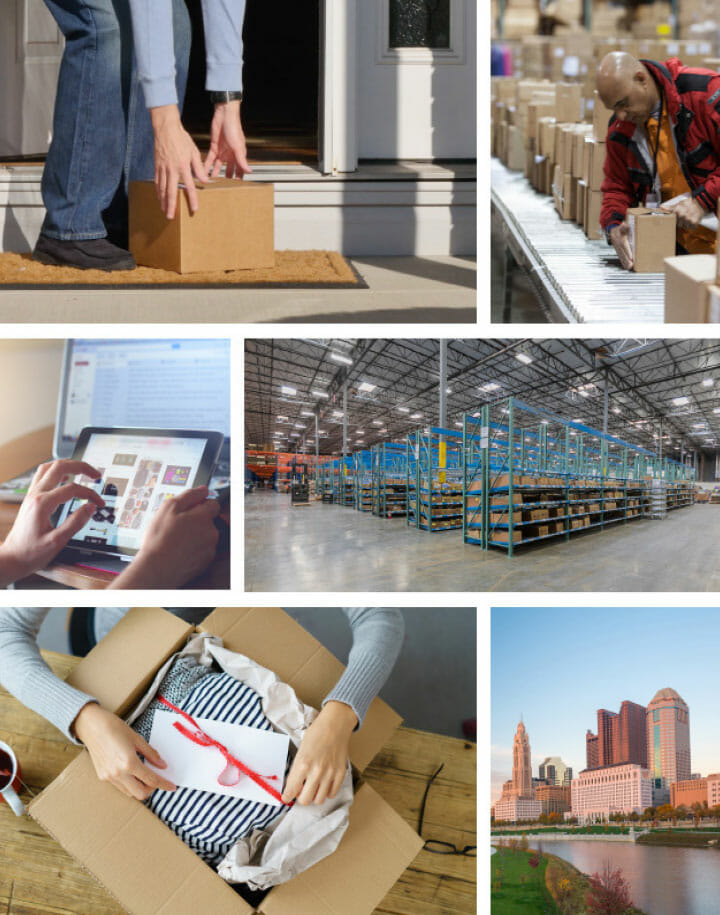 Collage of pictures related to logistics - a woman opening a box, a man receiving a package, interior warehouse, digital inventory management