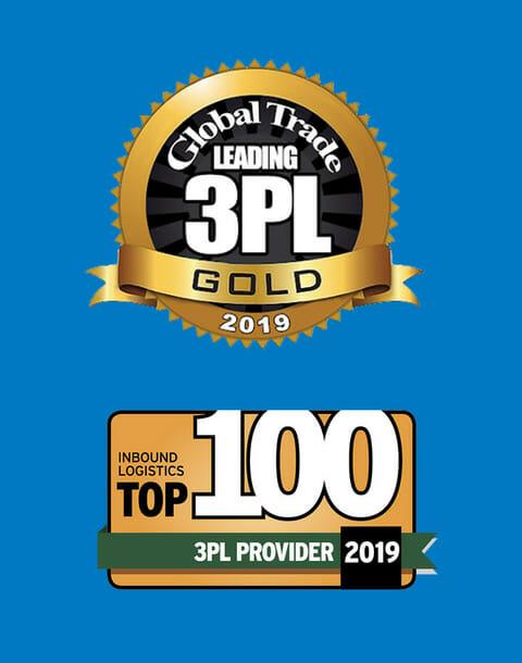 award emblems - Global Trade Leadingt 3PL Gold 2019 and Inbound Logistics Top 100 3PL provider 2019