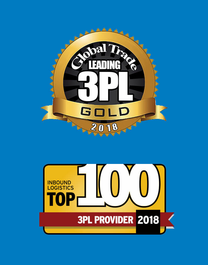 Global Trade Leading 3PL Gold and Inbound Logistics Top 100 3PL Provider 2018 logos