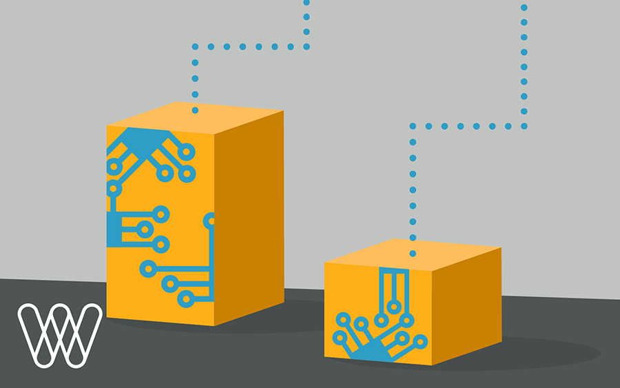 illustration of two cardboard packages with circuit boards
