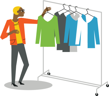 illustration of a woman with shirts hung on an apparel rack