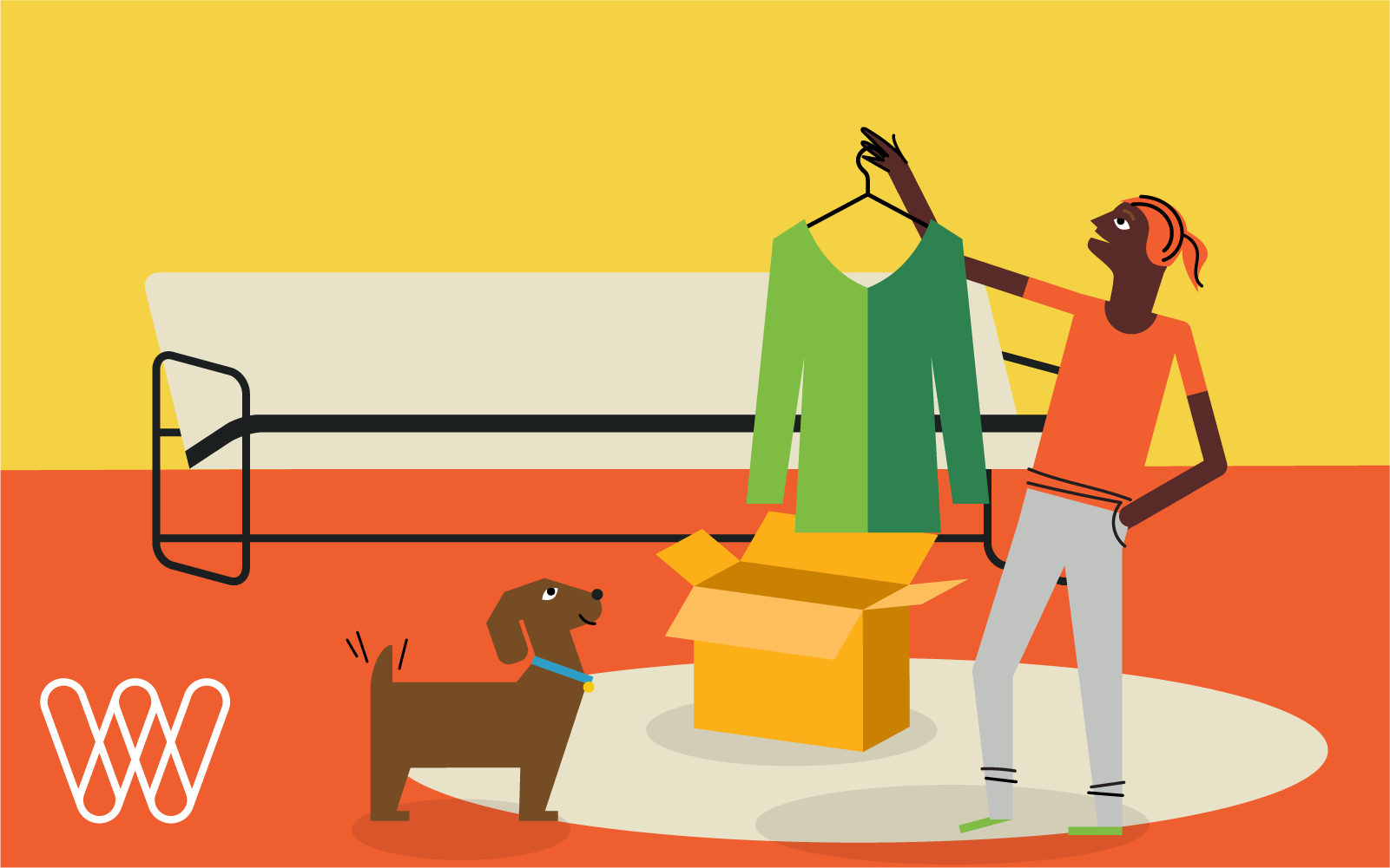 illustration of a person holding up a shirt while their dog looks on