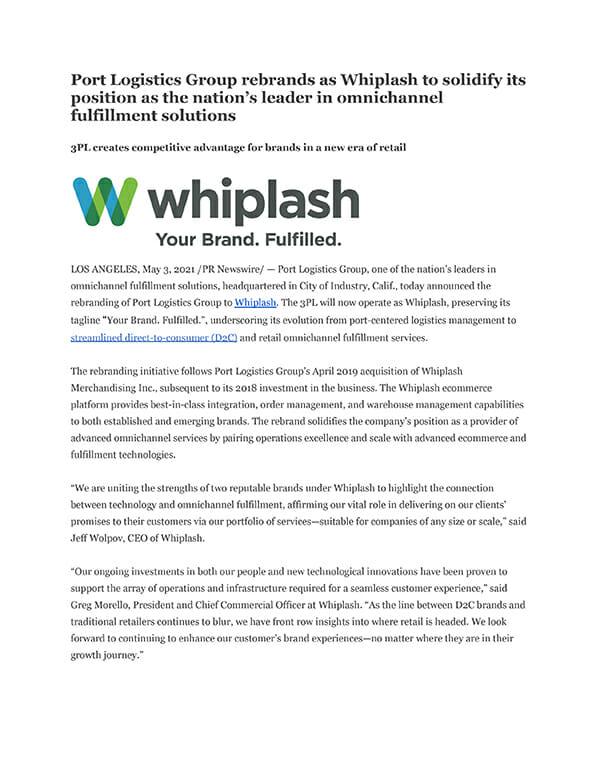 whiplash rebrand press release