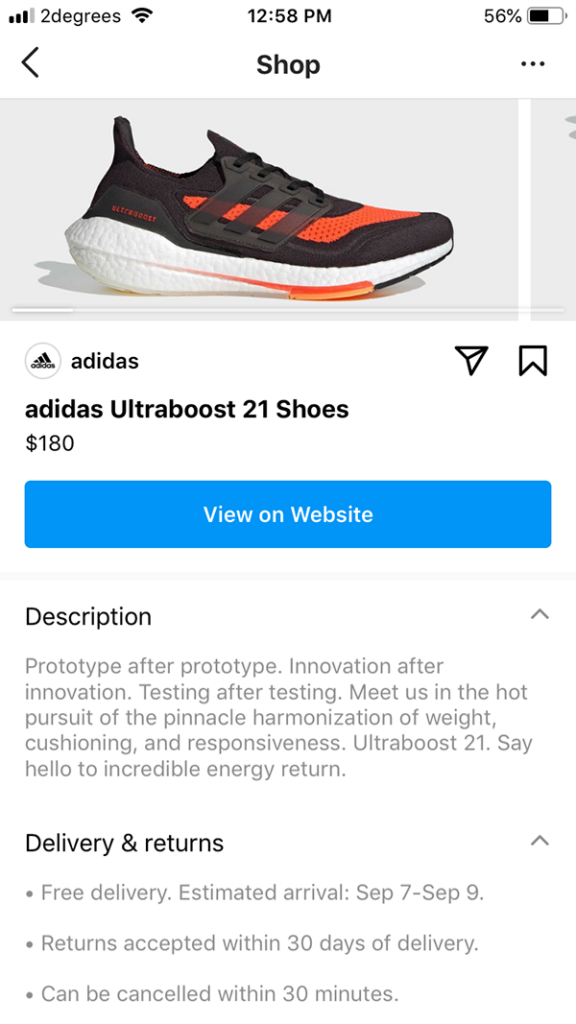 adidas instagram product page