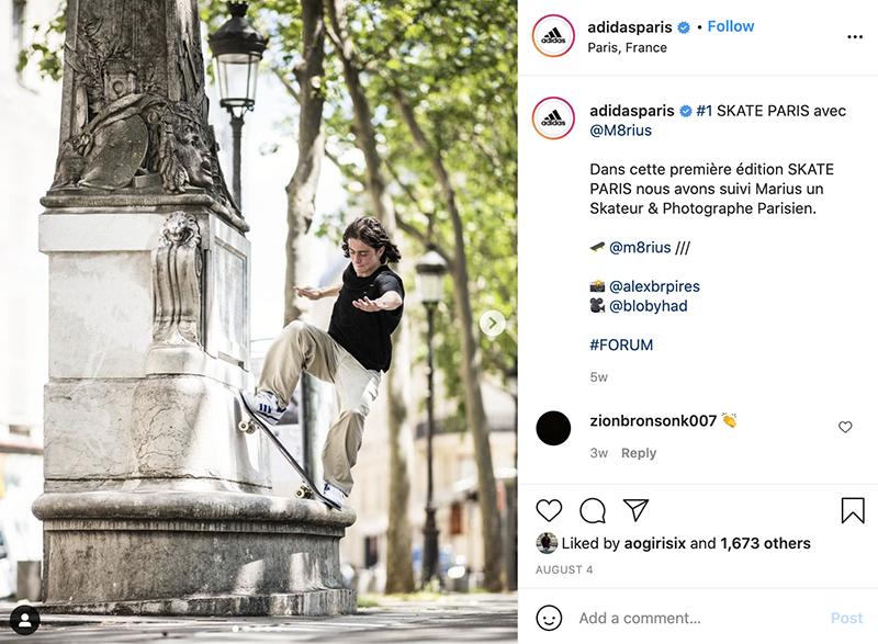 instagram post from adidasparis account