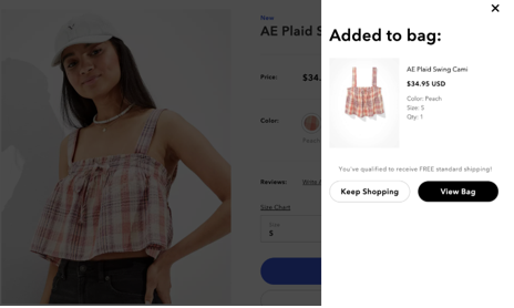 screenshot of American Eagle's in-page shopping cart view
