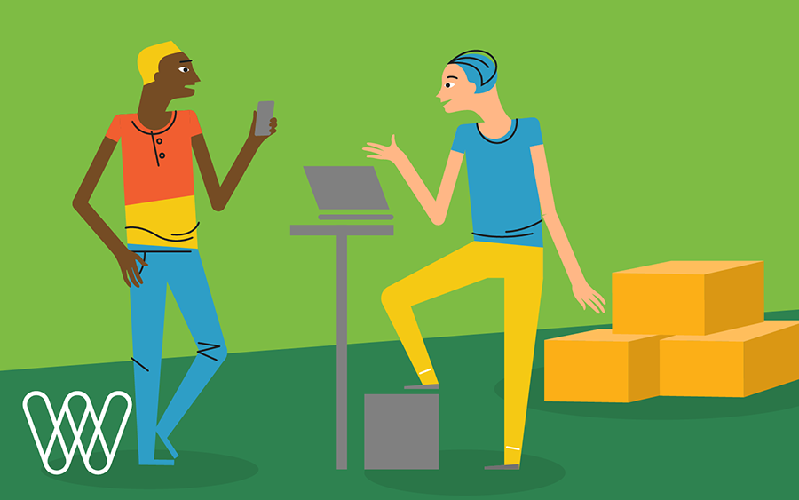 illustration of two people talking, one with a smartphone in their hand and the other in front of a laptop. shipping boxes are stacked in the background.