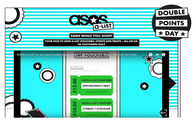 screenshot of ASOS's A-list rewards loyalty program