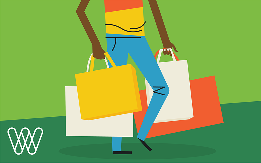 illustration of a person holding several shopping bags