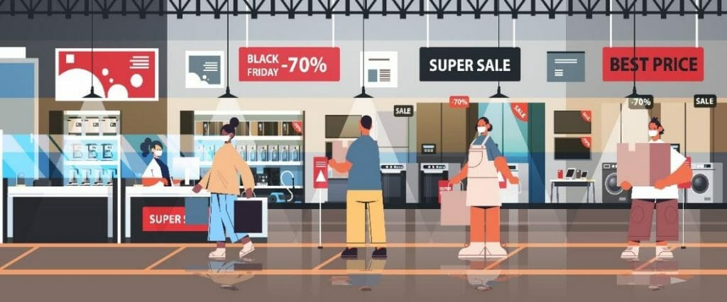 Cartoon showing retail customers waiting in line on black Friday, socially distanced and with masks on.
