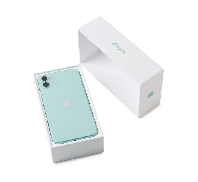 light blue apple iphone in the original box