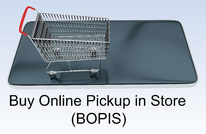 shopping cart on a smartphone with the text 'buy online pickup in store (bopis)'