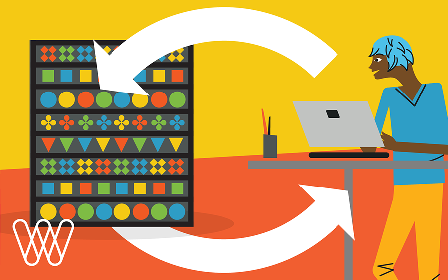 illustration of a person using a laptop computer next to shelves with items stacked on them. on top of the images are circular arrows.