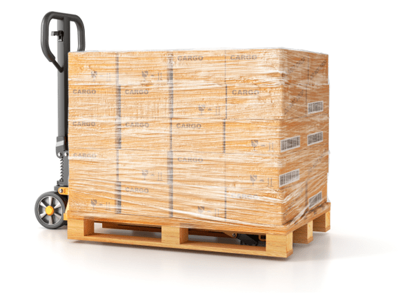 pallet of boxes on a handcart