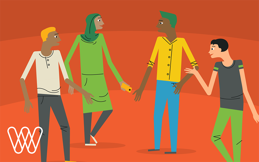 illustration of four people having a discussion