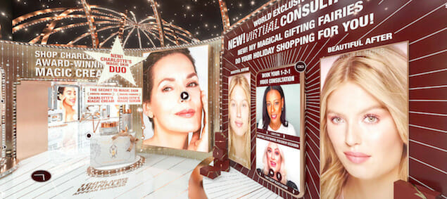a display of beauty model images with text: 'shop charlotte tilbury award-winning magic cream'; 'new! virtual consultant'; 'my magical fairies do your holiday shopping for you!'