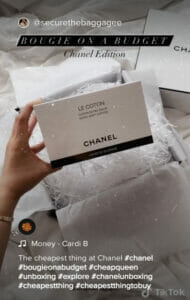 screenshot of a tiktok post of a chanel product with the hashtag #thecheapestthing